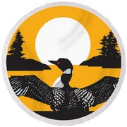 Orange Loon Round Beach Towel by Derrick Higgins