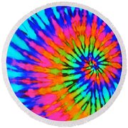 Orange Pink And Blue Tie Dye Spiral Round Beach Towel