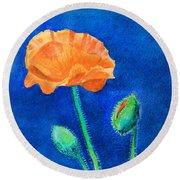Orange Poppy Round Beach Towel