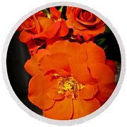 Round Beach Towel featuring the photograph Orange Rose Trio by Joann Copeland-Paul