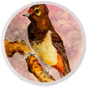Orange-spotted Bulbul Round Beach Towel