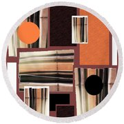 Orange Stacked Up Round Beach Towel