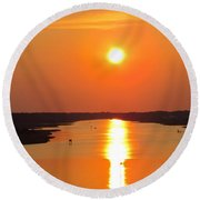 Round Beach Towel featuring the photograph Orange Sunset by Cynthia Guinn