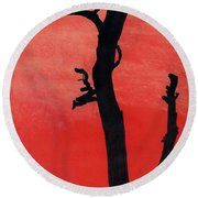 Round Beach Towel featuring the drawing Orange Sunset Silhouette Tree by D Hackett