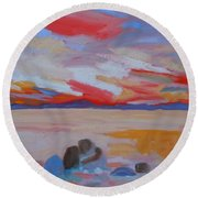 Orange Sunset Round Beach Towel