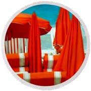 Orange Umbrellas Round Beach Towel