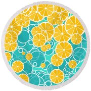 Oranges And Bubbles Round Beach Towel