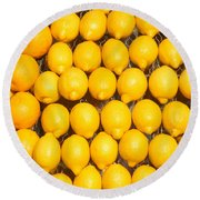 Oranges And Lemons Round Beach Towel
