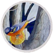 Oranges And Orioles Round Beach Towel