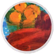 Round Beach Towel featuring the painting Oranges by Donald J Ryker III