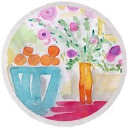 Oranges In Blue Bowl- Watercolor Painting Round Beach Towel