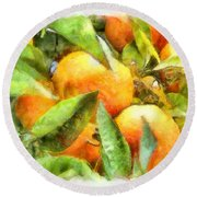 Oranges In Napoli Round Beach Towel