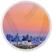 Orangesicle Griffith Observatory Round Beach Towel