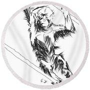 Orangutan 3 Round Beach Towel