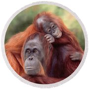 Orangutans Painting Round Beach Towel by Rachel Stribbling