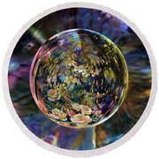 Orb Of Roses Past Round Beach Towel by Robin Moline