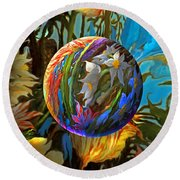 Round Beach Towel featuring the painting Orbing Aloha Lei by Robin Moline