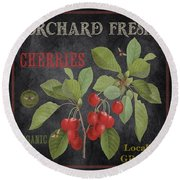 Orchard Fresh Cherries-jp2639 Round Beach Towel