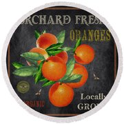 Orchard Fresh Oranges-jp2641 Round Beach Towel