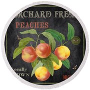 Orchard Fresh Peaches-jp2640 Round Beach Towel