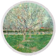 Orchard In Blossom, 1880  Round Beach Towel
