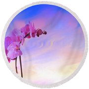 Orchid In Blue Round Beach Towel