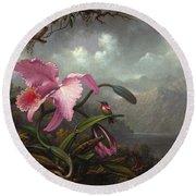 Orchid And Hummingbir Round Beach Towel by Martin Johnson Heade