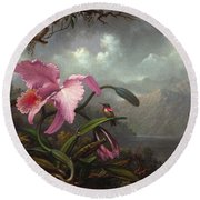Round Beach Towel featuring the painting Orchid And Hummingbird by Martin Johnson Heade