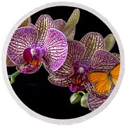 Orchid And Orange Butterfly Round Beach Towel