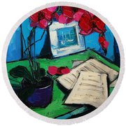 Orchid And Piano Sheets Round Beach Towel by Mona Edulesco