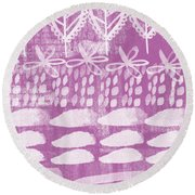 Orchid Fields Round Beach Towel by Linda Woods