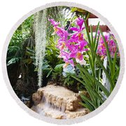 Orchid Garden Round Beach Towel by Carey Chen