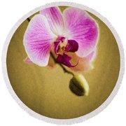 Orchid In Digital Oil - Impasto Round Beach Towel