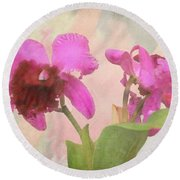 Orchid In Hot Pink Round Beach Towel by Rosalie Scanlon