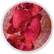 Orchid On Fabric Round Beach Towel
