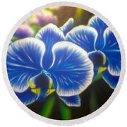 Orchid-strated Blues Round Beach Towel