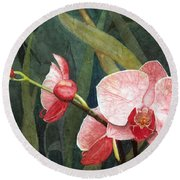 Round Beach Towel featuring the painting Orchid Trio 2 by Barbara Jewell