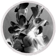 Orchids 2 Bw Round Beach Towel
