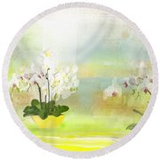 Orchids - Limited Edition 1 Of 10 Round Beach Towel by Gabriela Delgado