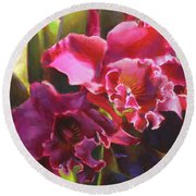 Orchids In Magenta Round Beach Towel