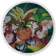 Orchids In Raindrop Reflections Round Beach Towel