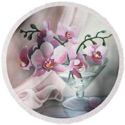 Orchids Round Beach Towel by Vesna Martinjak