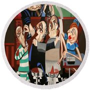 Round Beach Towel featuring the painting Order In The Court Side Bar by Anthony Falbo