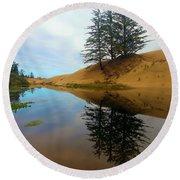 Oregon Dunes Pond Round Beach Towel