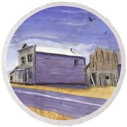 Oregon Ghost Town Watercolor Round Beach Towel
