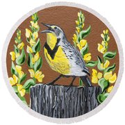 Oregon Meadowlark Round Beach Towel