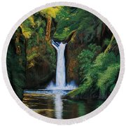 Oregon's Punchbowl Waterfalls Round Beach Towel