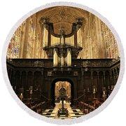 Organ And Choir - King's College Chapel Round Beach Towel