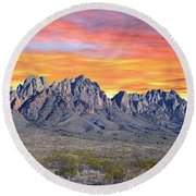Organ Mountain Sunrise Most Viewed  Round Beach Towel by Jack Pumphrey