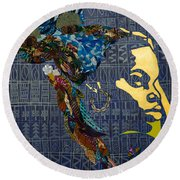 Round Beach Towel featuring the tapestry - textile Ori Dreams Of Home by Apanaki Temitayo M